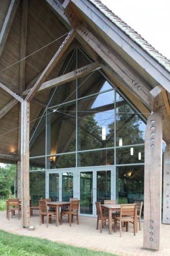 Reynaers CS68 Double Doors Incorporated Within Raked Curtain Wall Entrance Screen & Architectural Glazing Project: New Inn Farm Stowe pezcame.com