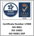 ISO certification to UKAS and SSiP standards