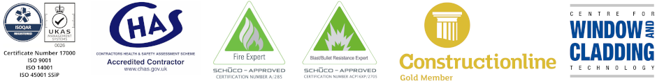 ISO 9001, ISO 14001, ISO 45001 SSiP, CHAS accredited, Schüco Approved Fire Expert, Schüco Approved Blast / Bullet Resistant Expert, Constructionline certified, CWCT member